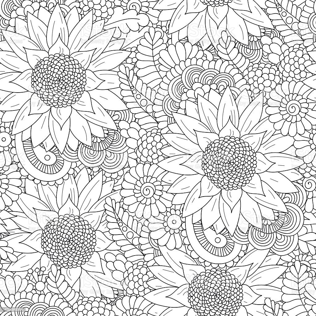 Seamless pattern with black and white sunflowers vector art illustration