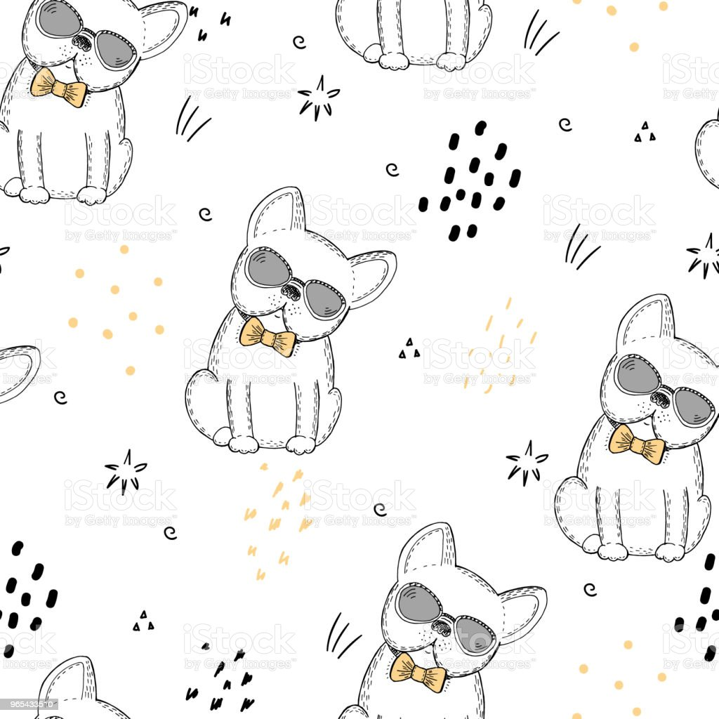 seamless pattern with Black and white vector sketch of a dog. Vector Illustration seamless pattern with black and white vector sketch of a dog vector illustration - stockowe grafiki wektorowe i więcej obrazów bazgroły - rysunek royalty-free