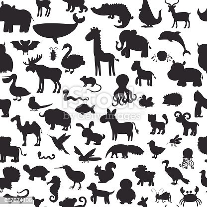 Seamless pattern with black animals silhouettes. Cute background. Vector illustration