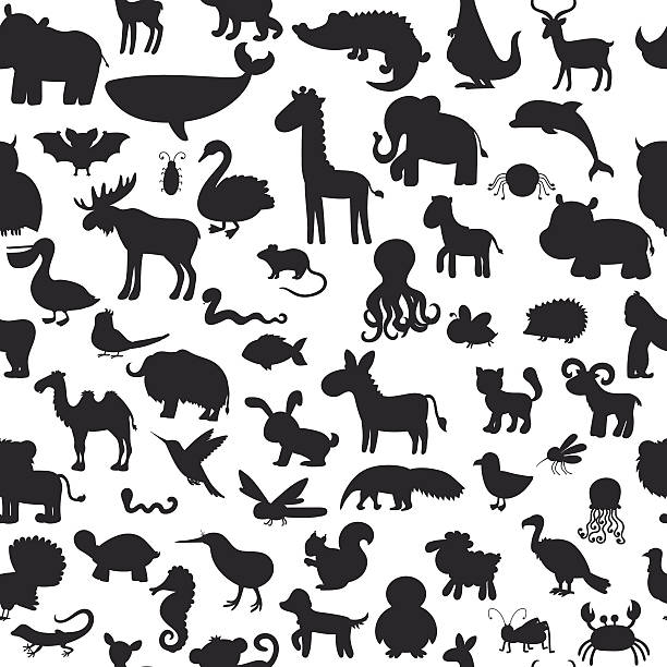 stockillustraties, clipart, cartoons en iconen met seamless pattern with black animals silhouettes. cute background - afrikaanse vogel