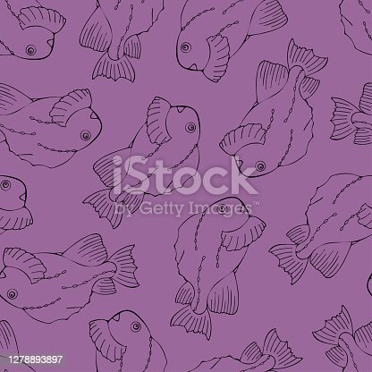Seamless pattern with black fish on violet background.