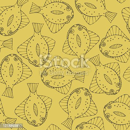 Seamless pattern with black fish on yellow background.