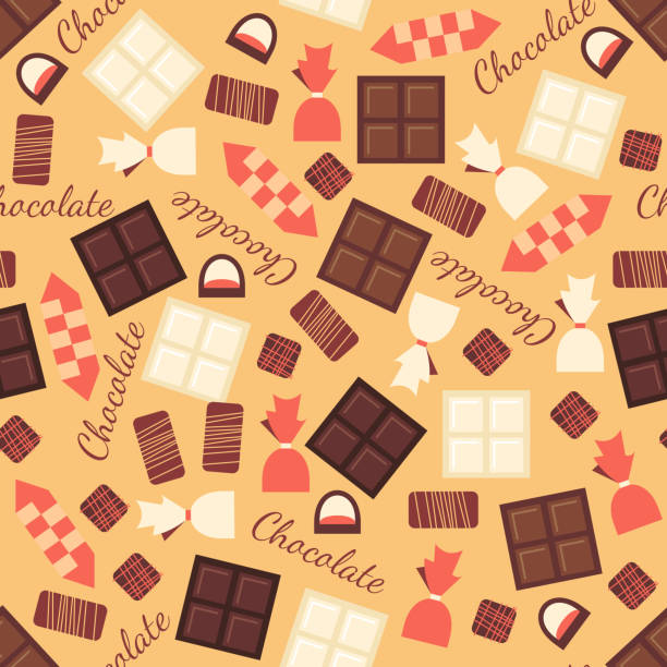 seamless pattern with black, milk and white chocolate bars - bar 幅插畫檔、美工圖案、卡通及圖標