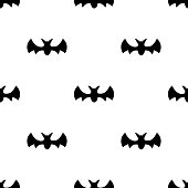 Seamless pattern with black silhouette bats. Halloween texture. Vector illustration for design, web, wrapping paper, fabric, wallpaper.