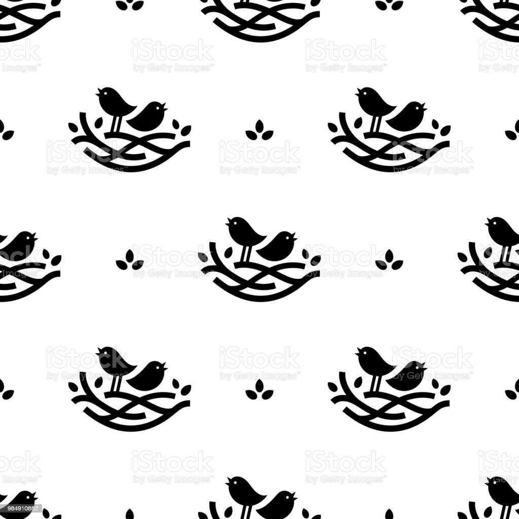 Seamless pattern with black singing birds in nest in minimalistic style on white background vector art illustration