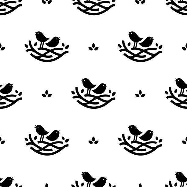 bildbanksillustrationer, clip art samt tecknat material och ikoner med seamless mönster med svart sjungande fåglar i boet i minimalistisk stil på vit bakgrund - bo