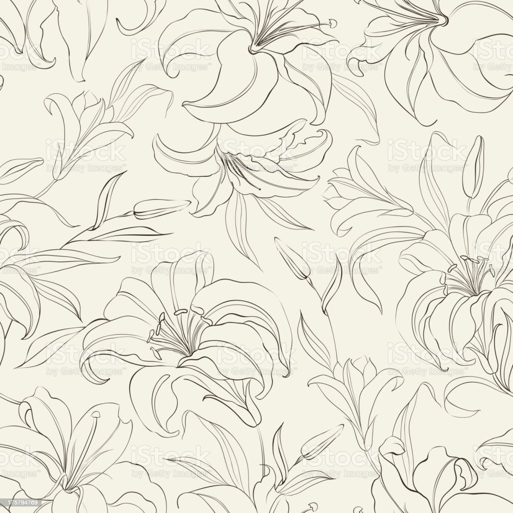 Seamless pattern with blooming lilies royalty-free stock vector art