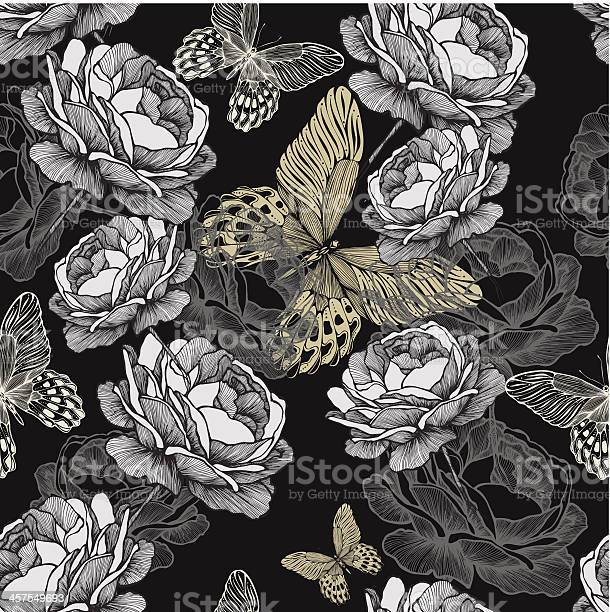 Seamless pattern with blooming roses and butterflies on black vector id457549693?b=1&k=6&m=457549693&s=612x612&h=u23rz1lo6afnoynw821rtg70 o5gdqfvclivsg d9ts=