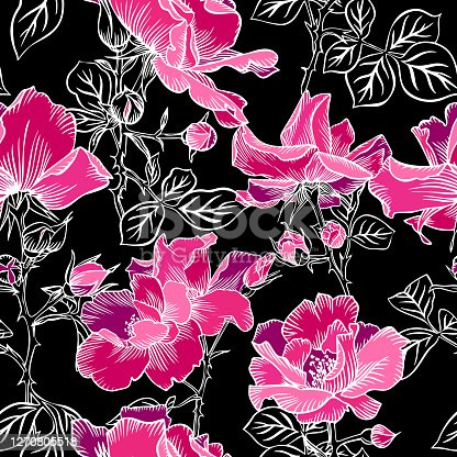 istock Seamless pattern with blossom red large roses petals buds and leaves. Artistic summer floral background isolated on black. Beautiful botanical ornament. Line contour drawing, Vintage style. 1270805518