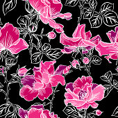 Seamless pattern with blossom red large roses petals buds and leaves. Artistic summer floral background isolated on black. Beautiful botanical ornament. Line contour drawing, Vintage style.