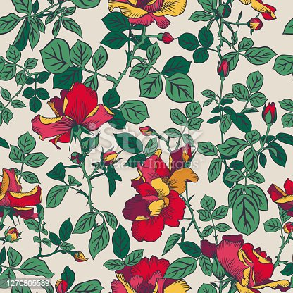 istock Seamless pattern with blossom red roses and leaves. Artistic summer floral background. Beautiful botanical ornament. Line drawing, Vintage style. 1270805589