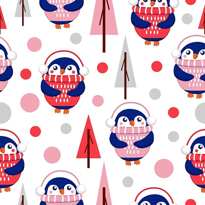 Seamless pattern with blue baby penguins wearing pink, red and white sweaters, hats and headphones. White background. Fir trees. Merry Christmas. Wallpaper, textile, scrapbooking and wrapping paper