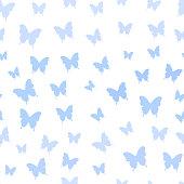 Seamless pattern with blue butterflies. Butterfly vector background. Flying butterflies. Butterflies trail. Vector illustration