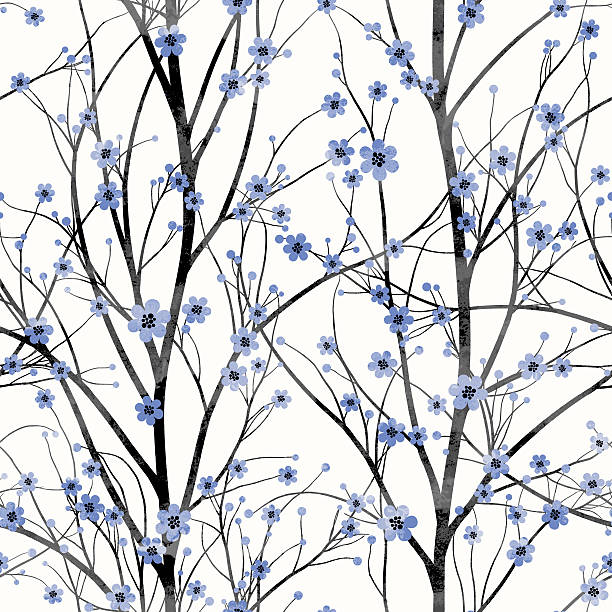Seamless pattern with blue cherry tree blossom vector art illustration