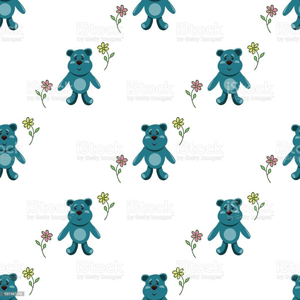 Patrón Sin Costuras Con Osos De Peluche Azul Illustracion Libre de ...