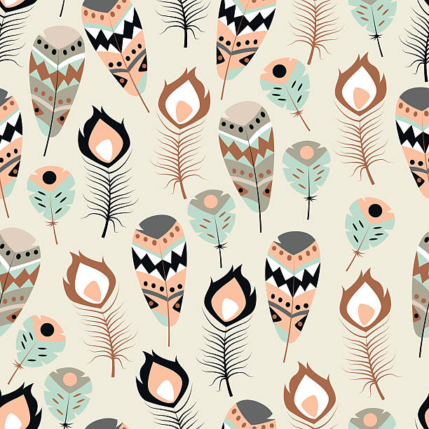 Seamless pattern with boho vintage tribal ethnic colorful vibrant feathers vector art illustration