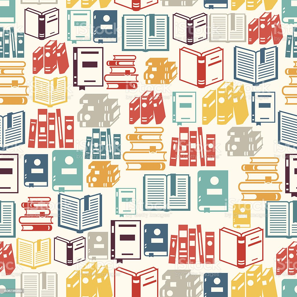 Seamless pattern with books in flat design style. vector art illustration