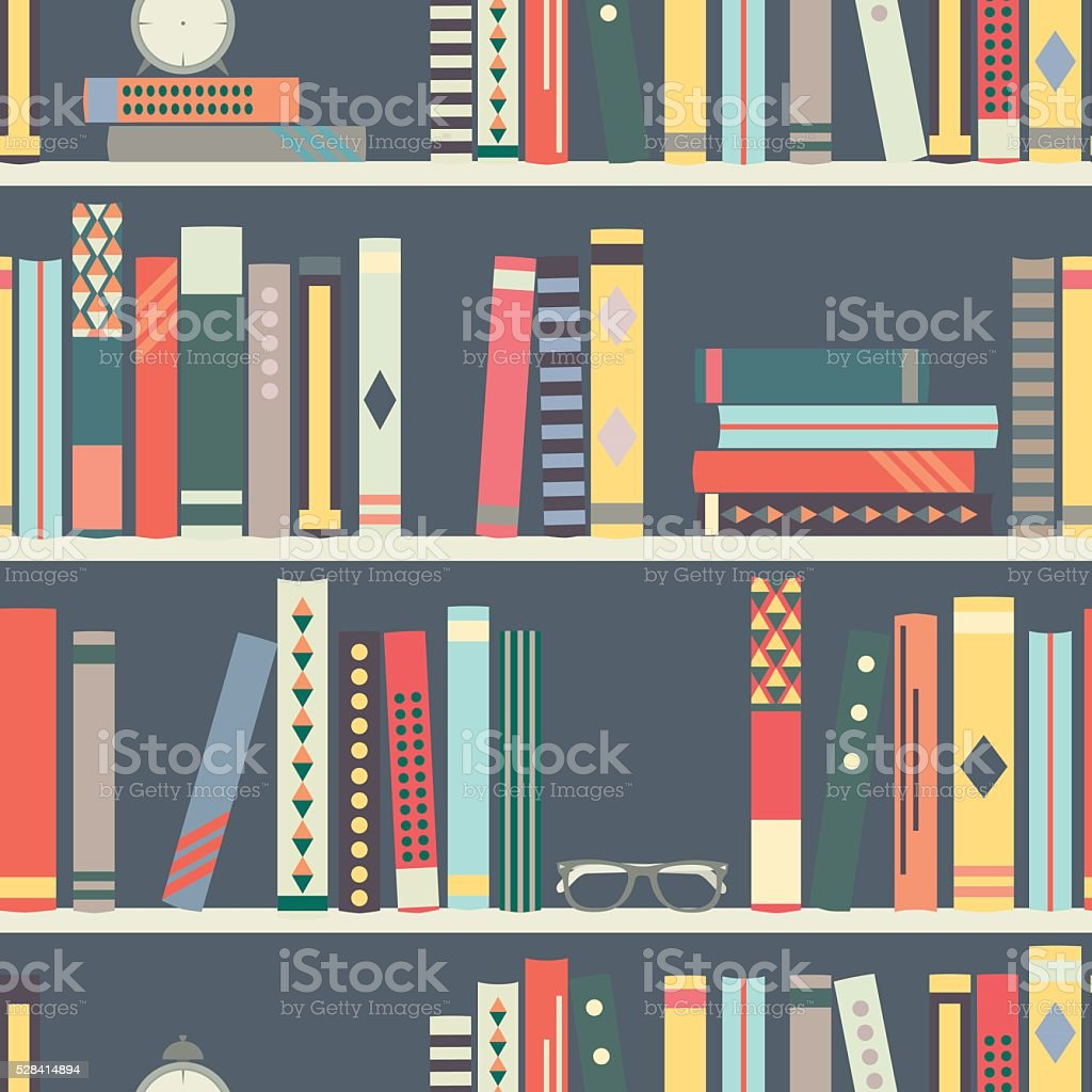 Seamless pattern with books on bookshelves in flat design style vector art illustration