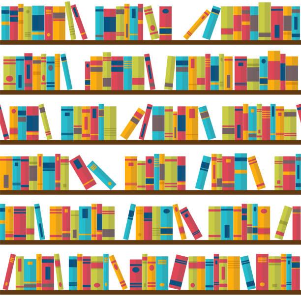 Seamless pattern with books on bookshelves. Library, bookstore. Flat design Seamless pattern with books on bookshelves. Library, bookstore. Flat design. Vector illustration book patterns stock illustrations