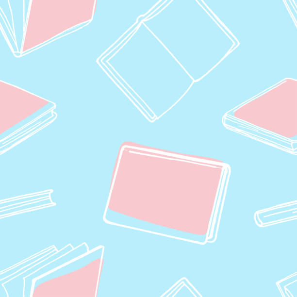 Seamless pattern with books. White outline on a blue background. Seamless pattern with books. White outline on a blue background. Vector illustration in sketch style. Hand-drawn. book patterns stock illustrations