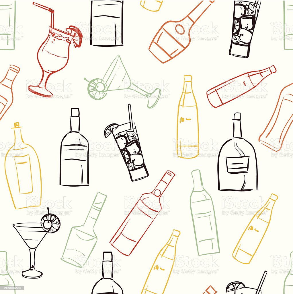 Seamless pattern with bottles and glasses vector art illustration