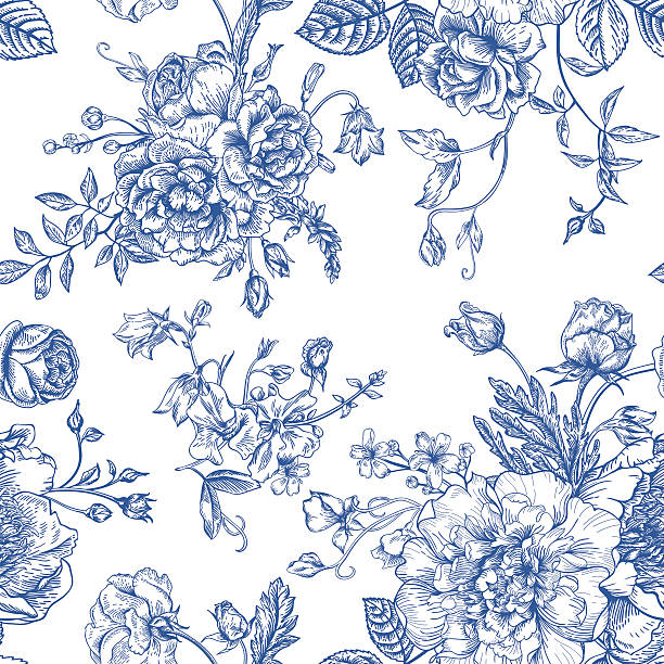 bildbanksillustrationer, clip art samt tecknat material och ikoner med seamless  pattern with bouquet of  flowers. - flower bouquet blue and white