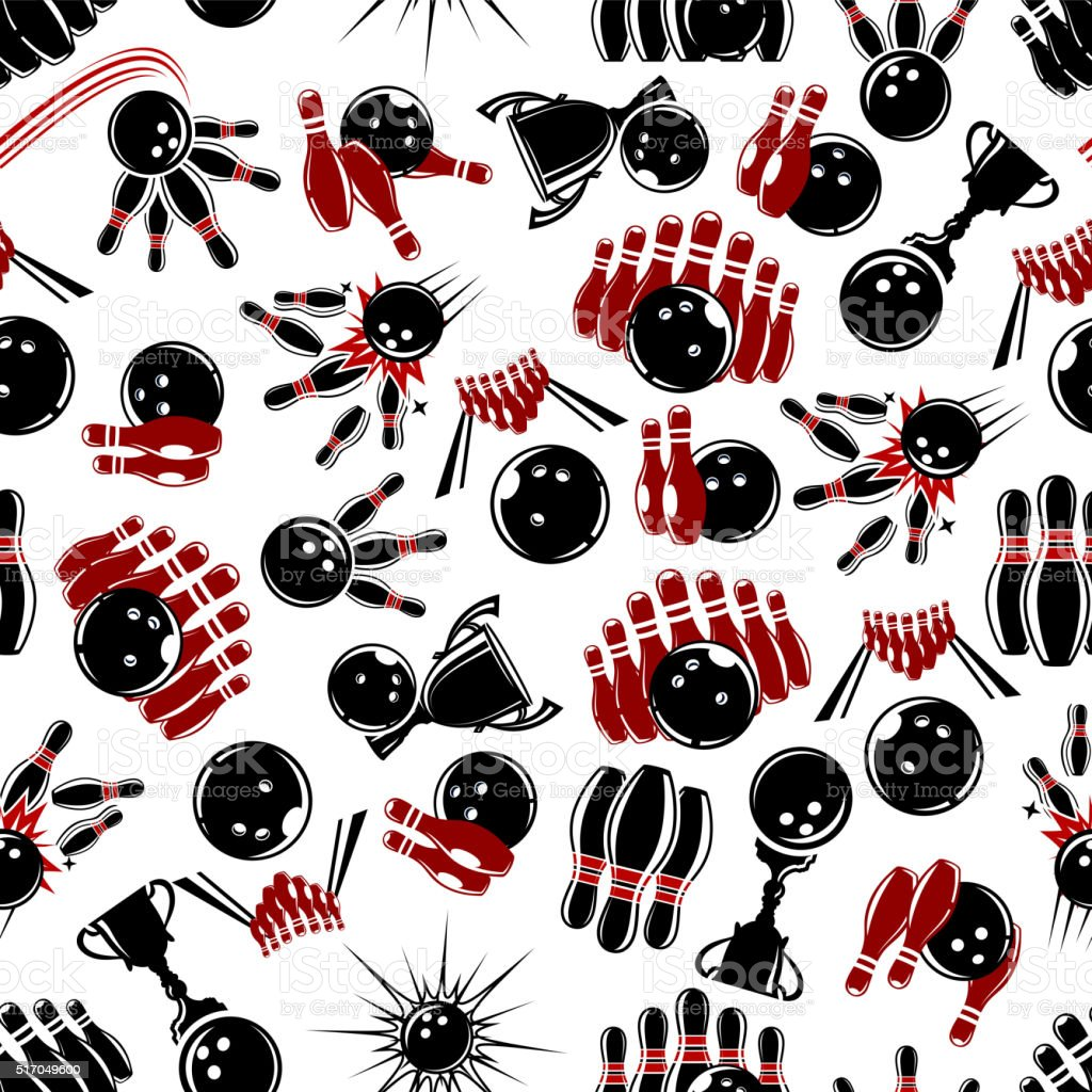 Seamless pattern with bowling items vector art illustration