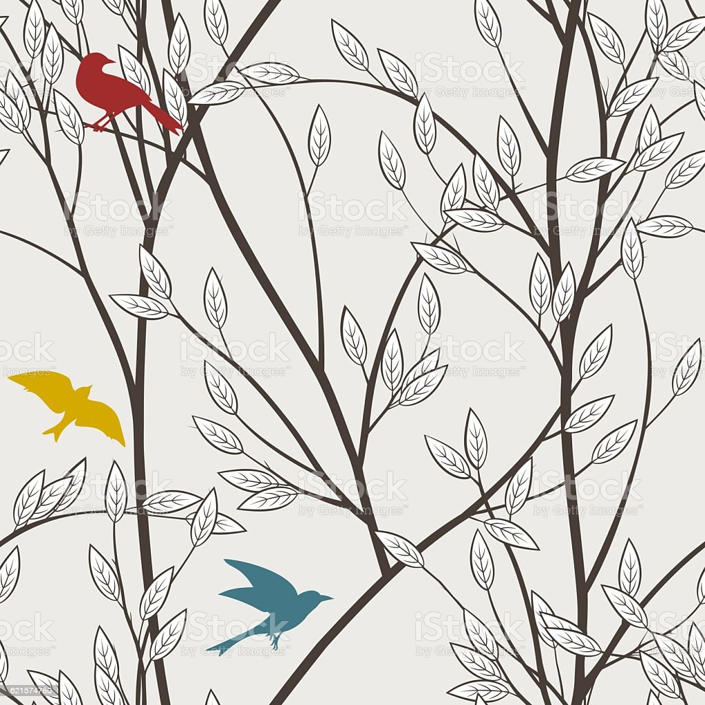 Seamless pattern with branches, leaves and colorful birds