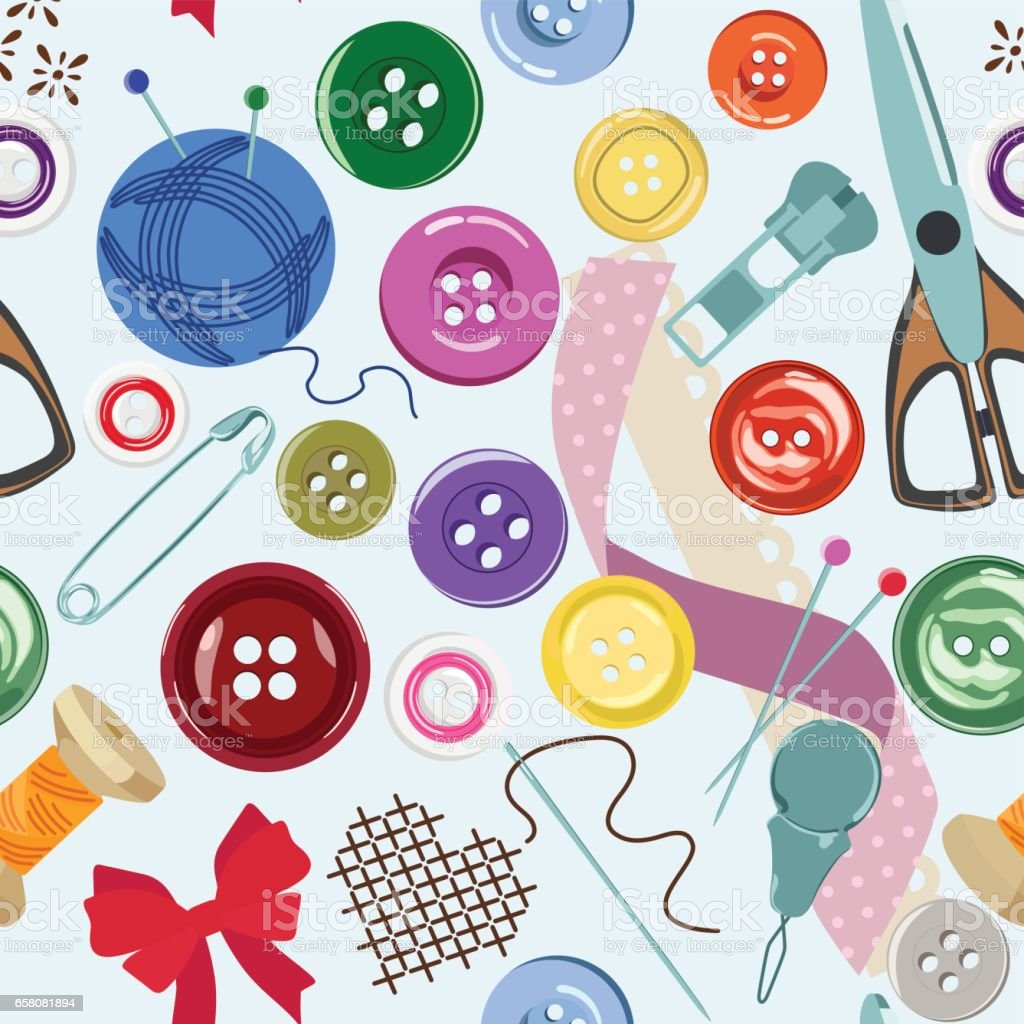 Seamless pattern with bright buttons and sewing accessories. Vector illustration. vector art illustration