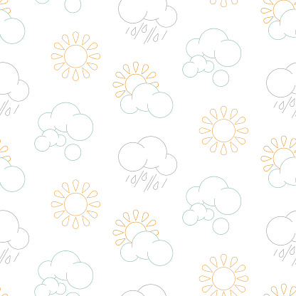 Seamless pattern with bright icons - sun, cloud, rain isolated on white background