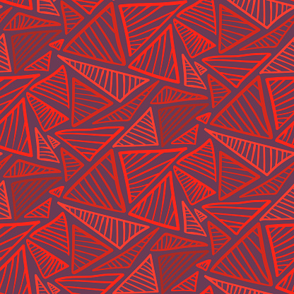Seamless pattern with bright red triangles