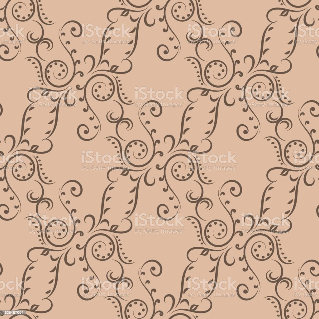 seamless pattern with brown wallpaper ornaments royaltyfree stock vector art