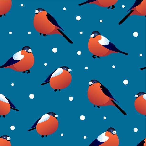 nahtlose muster mit gimpel auf blauem grund. vektor-design - dompfaff stock-grafiken, -clipart, -cartoons und -symbole