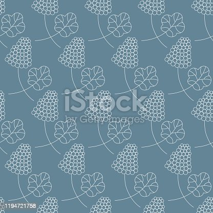 Seamless pattern with bunch of berries and leaf. Line art vector illustration on blue background. Can be used for graphic design, textile design or web design.