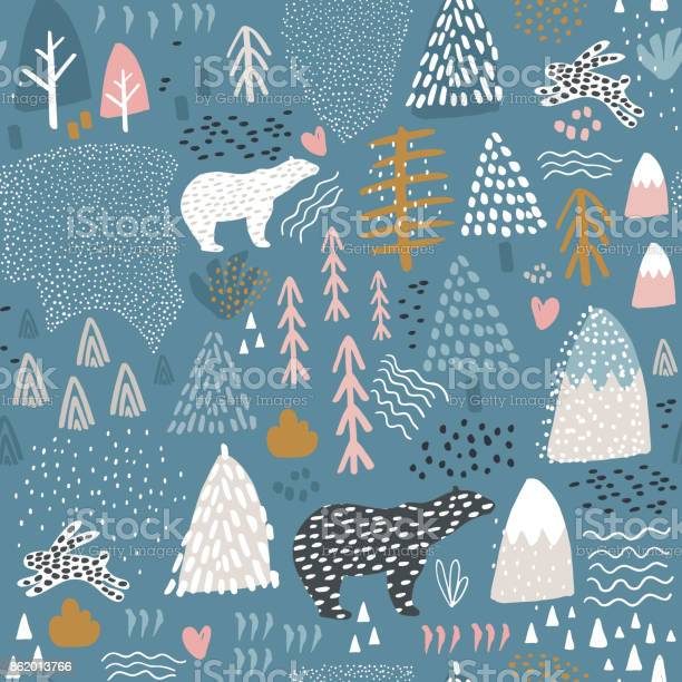 Seamless pattern with bunnypolar bear forest elements and hand drawn vector id862013766?b=1&k=6&m=862013766&s=612x612&h=xlidmsv4ardcunwisekuquzotta4ialcrir gnzdq7w=