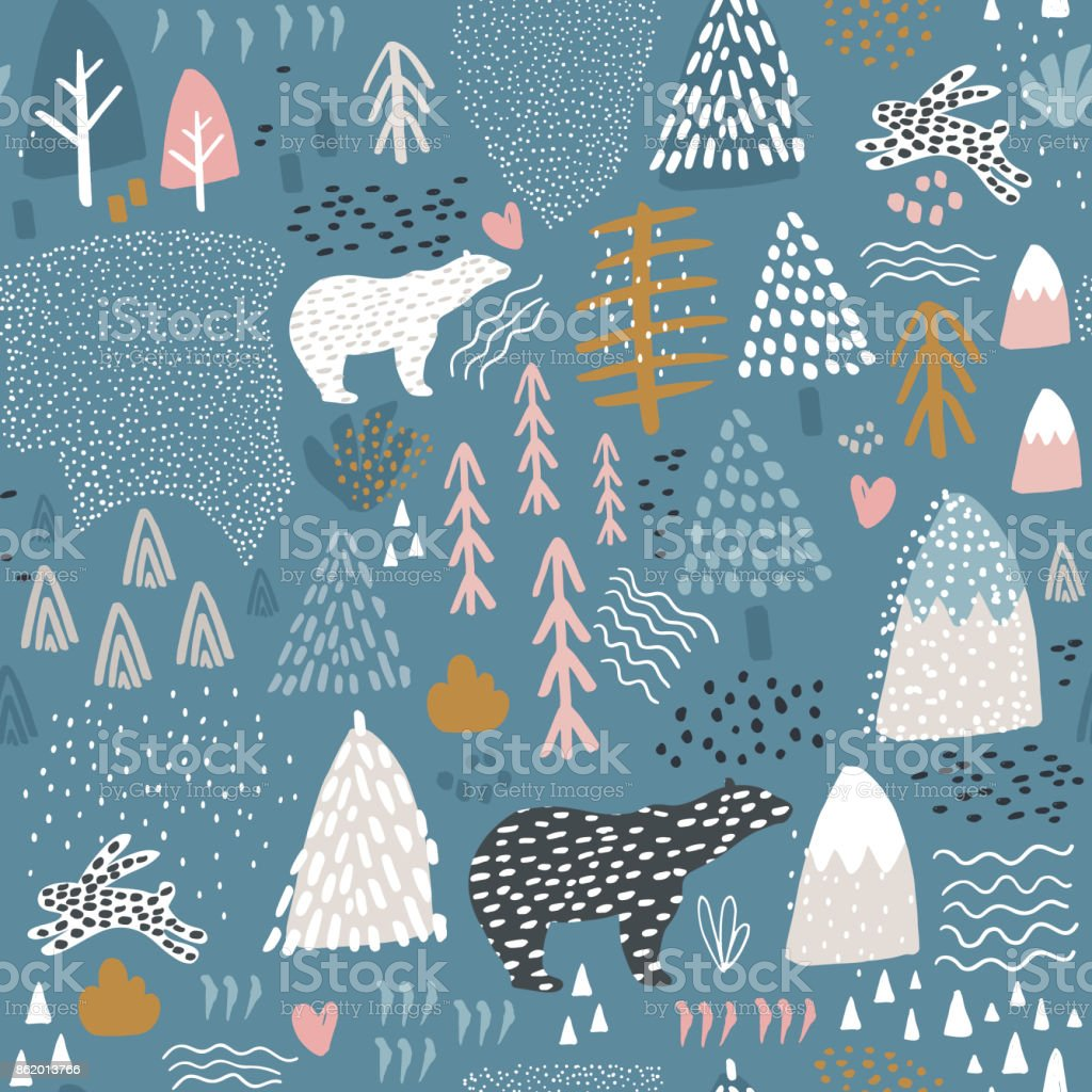 Seamless pattern with bunny,polar bear, forest elements and hand drawn shapes. Childish texture. Great for fabric, textile Vector Illustration vector art illustration