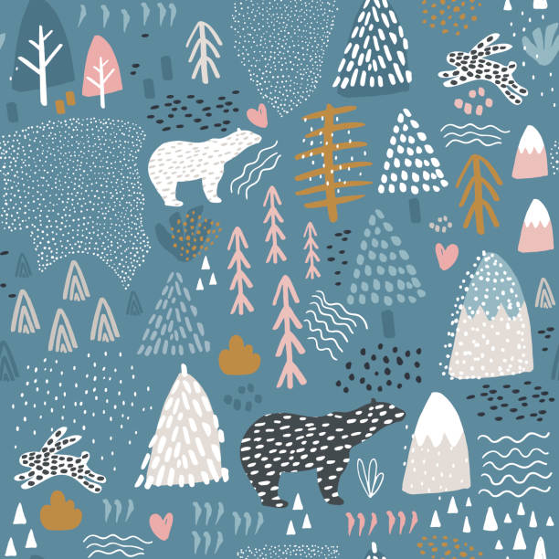 seamless pattern with bunny,polar bear, forest elements and hand drawn shapes. childish texture. great for fabric, textile vector illustration - animals background stock illustrations