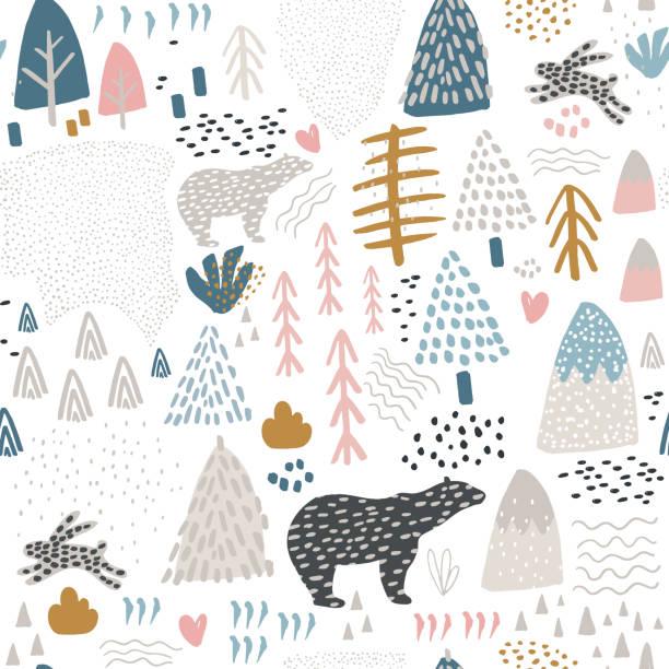 Patrón sin fisuras con conejo, oso polar, bosque elementos y formas de dibujado a mano. Textura de infantil. Ideal para tela, textil, Ilustración de vectores - ilustración de arte vectorial