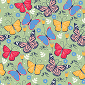 Seamless pattern with butterflies and flowers. Vector image