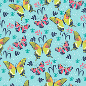 Seamless pattern with butterflies and flowers. Vector image.