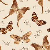 Seamless pattern with butterflies and moths in brown palette. The moth is a mystical symbol and talisman. Stock vector illustration.