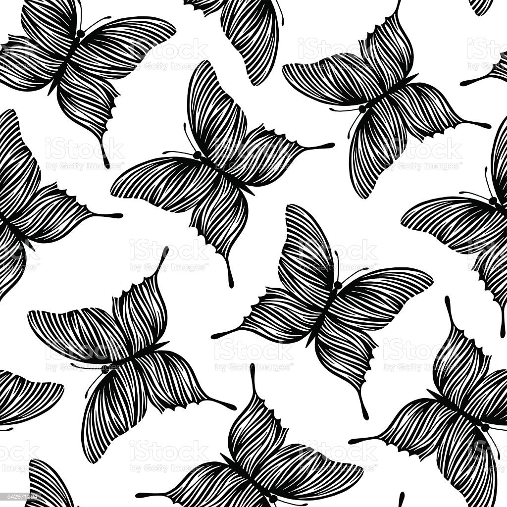 seamless pattern with butterflies black and white background stock