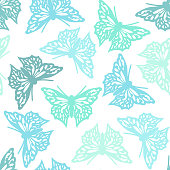 Seamless pattern with butterflies, blue and green color design. Vector butterfly background.
