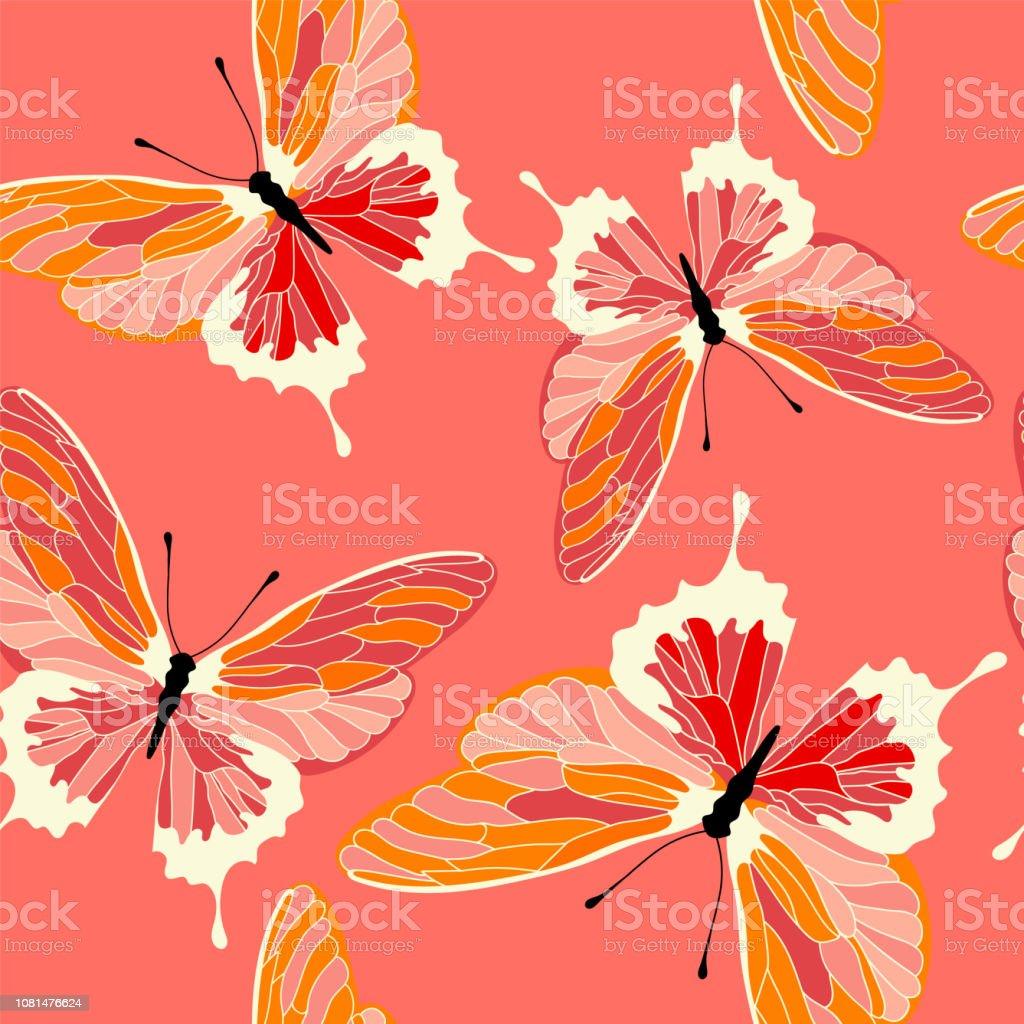Modèle sans couture avec des papillons, corail couleur design. Fond de vecteur de papillon. modèle sans couture avec des papillons corail couleur design fond de vecteur de papillon vecteurs libres de droits et plus d'images vectorielles de adulation libre de droits