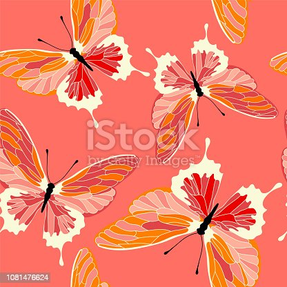 Seamless pattern with butterflies, coral color design. Vector butterfly background.