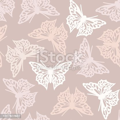 Seamless pattern with butterflies, nude colored abstract background design. Vector butterfly background.