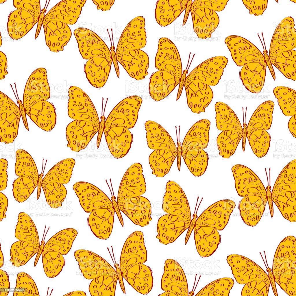 Schmetterling Deko Stoff gelb orange