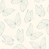 Seamless pattern with butterfly.