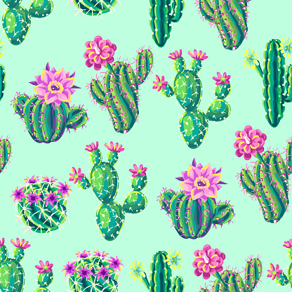 Seamless pattern with cacti and flowers.
