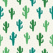 Seamless pattern with cactus on white background